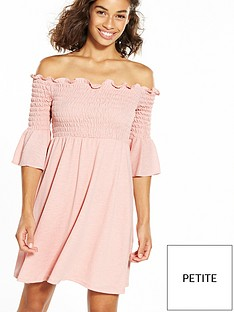 ri-petite-shirred-lace-bardot-dress
