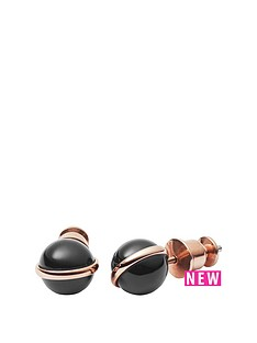 skagen-skagen-stainless-steel-rose-gold-tone-black-onyx-stud-earrings