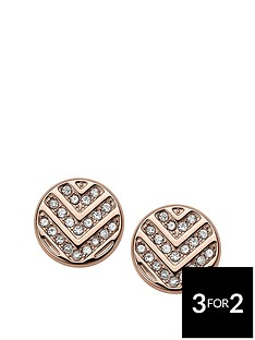 fossil-fossil-stainless-steel-rose-gold-tone-disc-studs