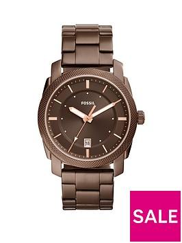 fossil-fossil-machine-brown-ip-stainless-steel-bracelet-men039s-watch