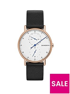 skagen-skagen-signatur-rose-gold-ip-case-black-leather-strap-men039s-watch