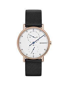 skagen-skagen-signatur-rose-gold-ip-case-black-leather-strap-mens-watch