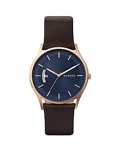 skagen-skagen-holst-blue-dial-brown-leather-strap-men039s-watch