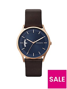 skagen-skagen-holst-blue-dial-brown-leather-strap-men039s-watch
