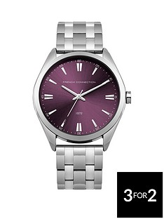french-connection-french-connection-silver-tone-raspberry-tone-dial-stainless-steel-bracelet-ladies-watch