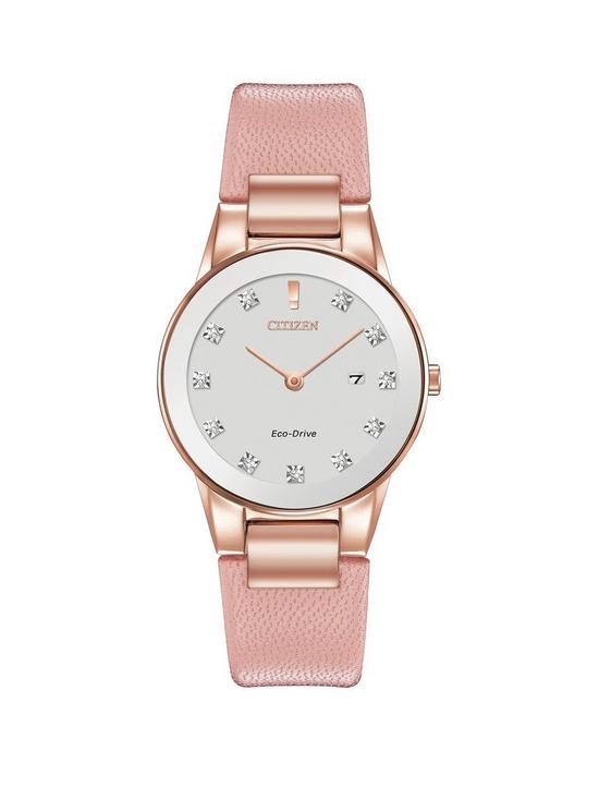 1e5f9e02e92 Citizen Citizen Eco-Drive Axiom Diamond Pink Leather Strap Ladies Watch