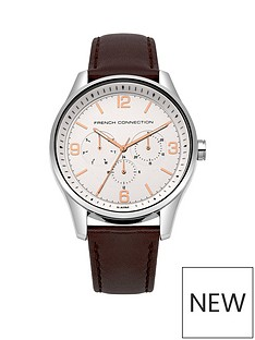 french-connection-french-connection-while-dial-with-rose-gold-highlights-chronograph-brown-leather-strap-mens-watch