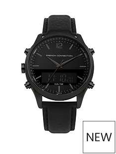 french-connection-french-connection-black-digital-and-analogue-leather-strap-mens-watch