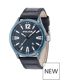 police-police-black-leather-watch-with-blue-dial