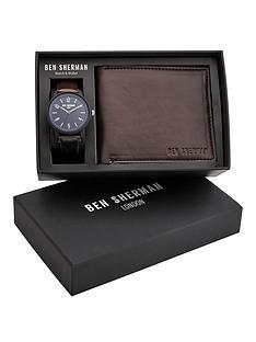 ben-sherman-ben-sherman-blue-dial-and-brown-strap-watch-and-matching-wallet-mens-gift-set