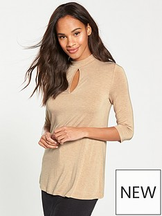 v-by-very-keyhole-high-neck-detail-top-camel-marl