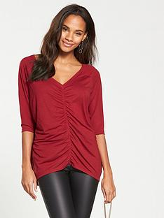 v-by-very-ruched-front-oversized-t-shirt-red