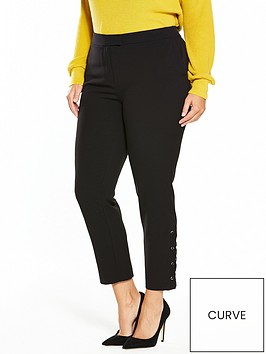 v-by-very-curve-lace-up-hem-detail-tapered-leg-trouser-black