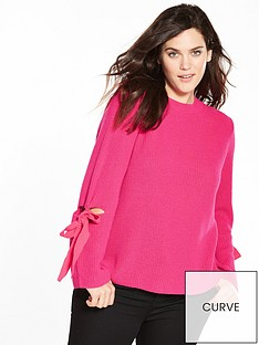 v-by-very-curve-tie-detail-flute-sleeve-jumper