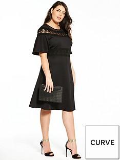 v-by-very-curve-lace-insert-cape-sleeve-skater-dress-black