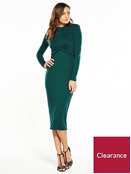 v-by-very-twisted-front-midi-dress-forest-green