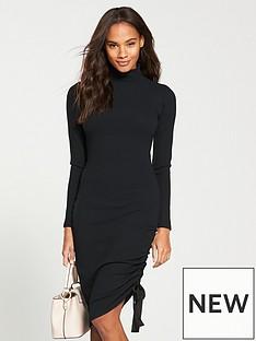 v-by-very-roll-neck-drawstring-midi-dress-black