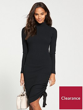 v-by-very-roll-neck-drawstring-midi-dress-black