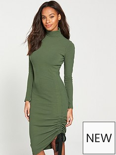 v-by-very-roll-neck-drawstring-midi-dress-khaki
