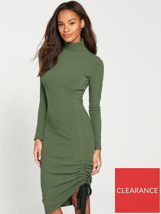 00eab60bcf2f V by Very Roll Neck Drawstring Midi Dress - Khaki | very.co.uk