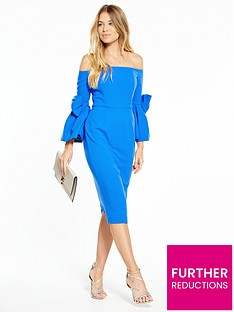 v-by-very-volume-sleeve-bardot-pencil-dress-with-bow-cuffs