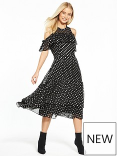 v-by-very-spot-jacquard-frill-midi-dress