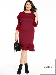 v-by-very-curve-ruffle-knitted-dress-merlot