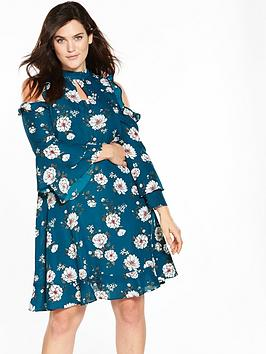 v by very curve cold shoulder ruffle dress