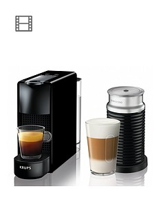 Nespresso XN111840 Essenza Mini Coffee Machine with Aeroccino by Krups - Black