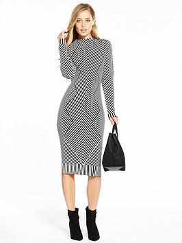 karen-millen-chevron-knit-pencil-dress