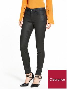 karen-millen-black-mid-rise-coated-skinny-jean