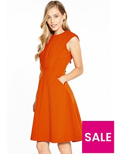 karen-millen-sculptured-tailored-dress-orange