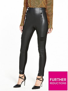 karen-millen-faux-leather-button-detail-legging