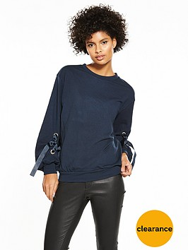 v-by-very-eyelet-ribbon-sleeve-sweat-navy