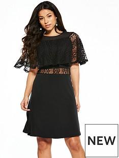 v-by-very-jersey-lace-fluted-sleeve-skater-dress