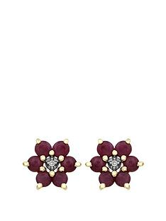 love-gem-9ct-yellow-gold-ruby-and-diamond-set-flower-stud-earrings