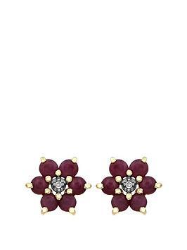 love-gem-9ct-yellow-gold-ruby-and-diamond-set-flower-stud-earrings