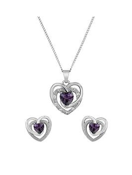 the-love-silver-collection-sterling-silver-lavender-cubic-zirconianbspheart-pendant-and-earring-set