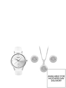 evoke-evoke-sterling-silver-swarovski-elements-circle-pendant-earrings-watch-set