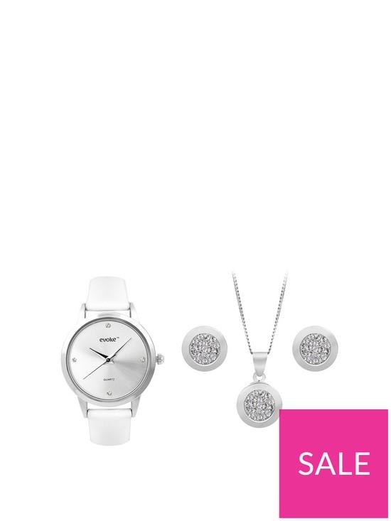 1fa83d339 Evoke EVOKE Sterling Silver & Swarovski Elements Circle Pendant, Earrings &  Watch Set