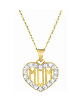 the-love-silver-collection-9ct-gold-plated-sterling-silver-cubic-zirconia-set-mum-heart-pendant