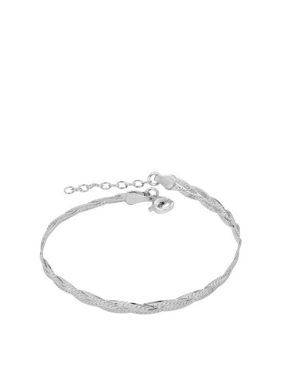 The Love Silver Collection Sterling Silver Braided Bracelet Very Co Uk