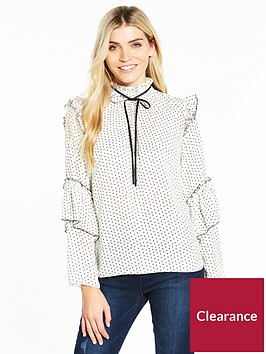 v-by-very-printed-contrast-tie-ruffle-blouse-white