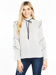 v-by-very-printed-contrast-tie-ruffle-blouse
