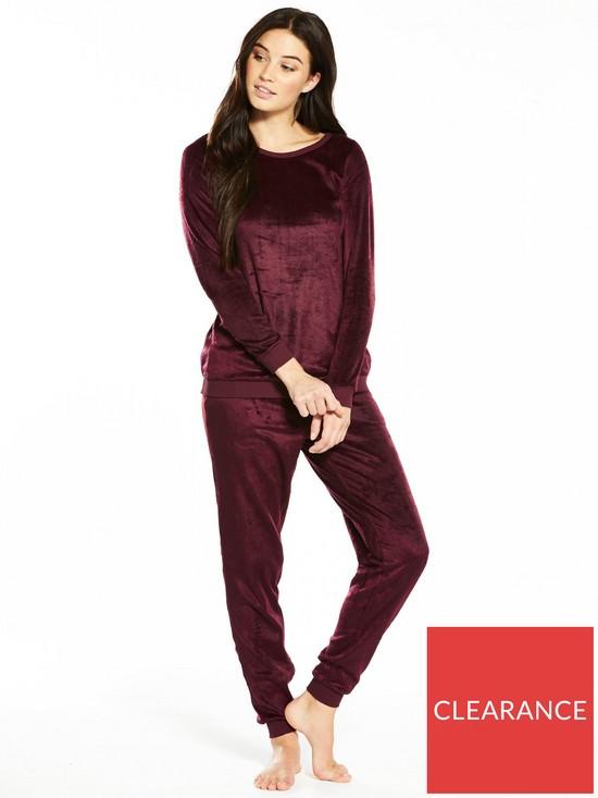 e2ec3cf48e5b V by Very Soft Fleece Two Piece Pyjama Set - Burgundy