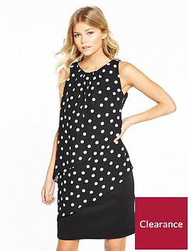 wallis-petite-spot-tiered-dress-black
