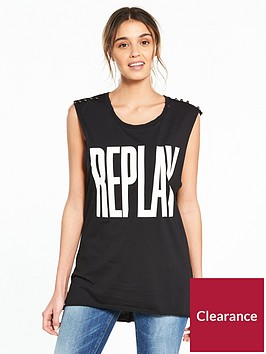 replay-sleeveless-logo-t-shirt