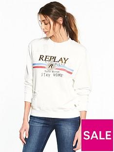 replay-love-kills-slogan-sweatshirt-ndash-white