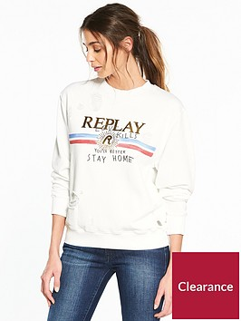 replay-love-kills-slogan-sweatshirt-ndash-white