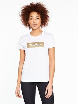 Replay Metallic Logo T-Shirt &Ndash; White
